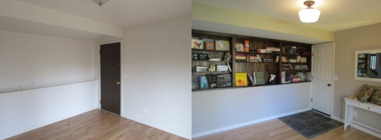 before and after of a bookshelf wall