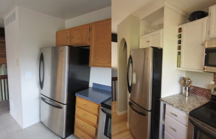 before and after fridge and pantry