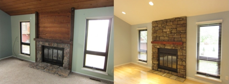Before and after of fireplace.